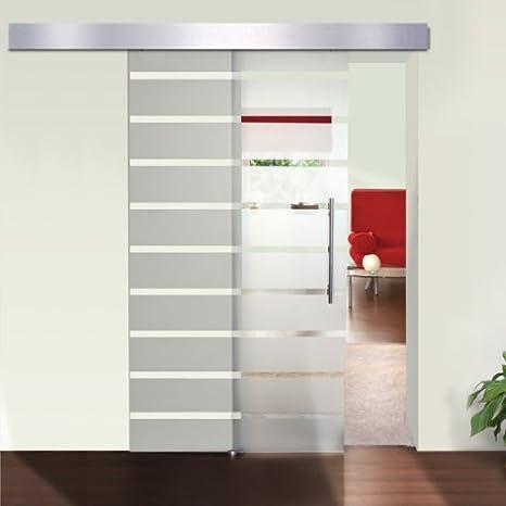 Serina - Puerta corredera (para interiores, cristal y aluminio satinado, 205 x 90 cm, 8 mm de grosor), diseño de rayas: Amazon.es: Bricolaje y herramientas