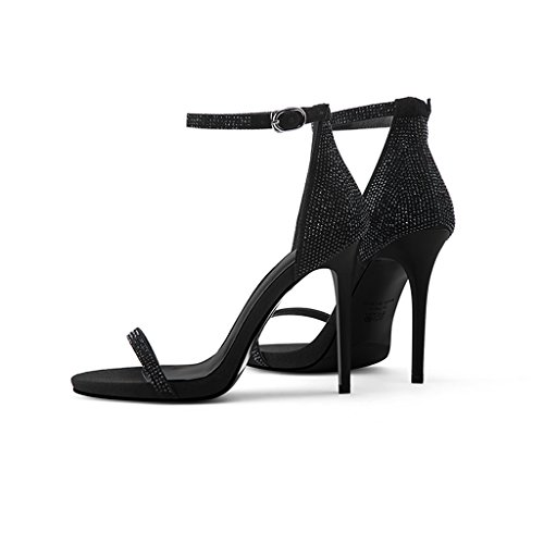 Noir Talons Mot Orteil Diamant des Noir Mot Avec wysm 10 Sandales Ouverte Chaussures Hauts à Sexy Femmes Un Boucle 7cm Avec WUHExARCn