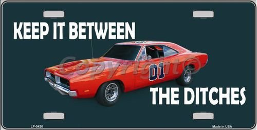 Keep It Between the Ditches General Lee Novelty License Plate Tag Sign (Daisy Duke Costume For Adults)