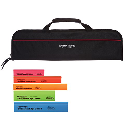- 5 Pocket Padded Chef Knife Case Roll with 5 pc. Edge Guards (Black 5 Pocket bag w/5pc. Multi-Color Edge guards)