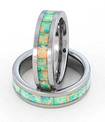 Almost Forever Jewelry 6mm Synthetic Opal Tungsten Carbide Ring Traditional White Opa l Flashes with Entire Rainbow of Colors