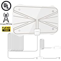 "Digital Antenna HDTV Indoor TV Antenna, Stronger Reception 50 to 70 Miles Range TV Antenna with Detachable Signal Amplifier Booster for 1080P High Reception, Ultra Thin for 0.02""and 16.5ft Coax Cable"