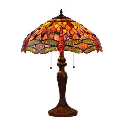 Chloe Lighting, CH2825DB18-TL3 Lighting Tiffany-style Dragonfly 3-Light Table Lamp with Shade, 18