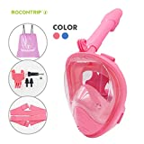 ROCONTRIP Snorkel Mask Full Face, Panoramic 180°View Design, Anti-Fogging Anti-Leak with Adjustable Head Straps with Longer Snorkeling Tube for Man Woman Adult Youth Kid