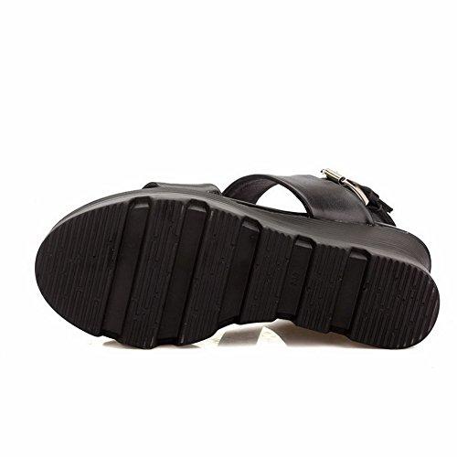 AgooLar Women's Buckle High Heels PU Solid Open Toe Sandals Black H8L86Dl
