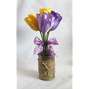 Spring Flower Arrangement, burlap, tulips, floral arrangement, gift for her, Easter decoration, home decor. bridal shower decorations, gift for her, yellow and purple tulips 9