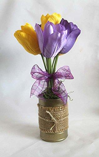 Spring Flower Arrangement, burlap, tulips, floral arrangement, gift for her, Easter decoration, home decor. bridal shower decorations, gift for her, yellow and purple tulips