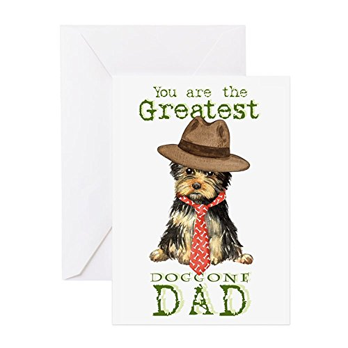 CafePress Yorkie Father's Day Greeting Card, Note Card, Birthday Card, Blank Inside Matte