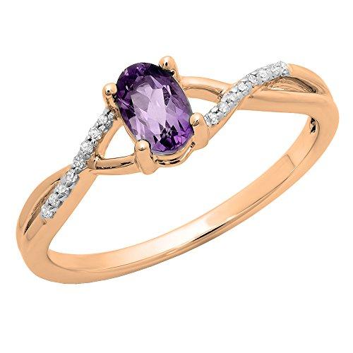 Dazzlingrock Collection 10K 6X4 MM Amethyst & White Diamond Bridal Swirl Engagement Promise Ring, Rose Gold, Size 9.5 ()