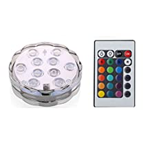 SODIAL(R) 2PCS 10 LED Submersible Light UNDERWATER RGB POOL/BATH/SPA Light+Remote Control