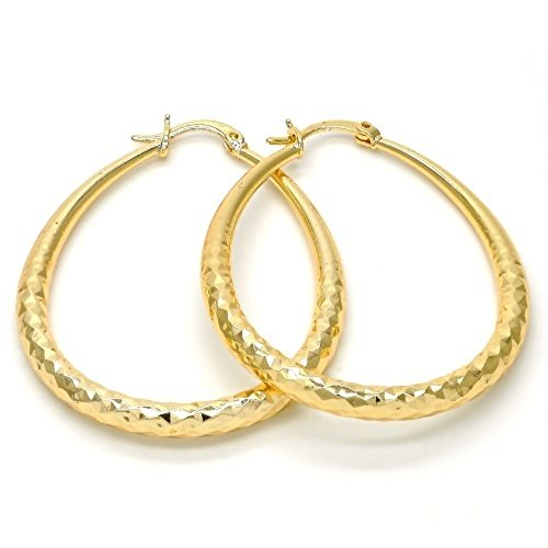 Women's 14K Gold Layered Oval Hoop Earrings Diamond Cut Finish Tear Drop Shape Hollow 4mm (50X40mm)