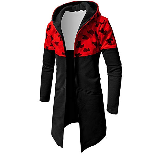 NRUTUP Sweatshirts for Men, Casual Camouflage Zipper Sweater Long Sleeve Top Hot !(Red,XL)
