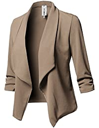 Women Solid Stretch 3/4 Gathered Sleeve Open Blazer...