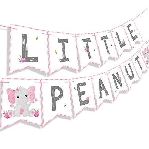 Cute Girl Baby Shower Themes (Faisichocalato Pink Little Peanut Banner Pink Elephant Baby Shower Baby Girl Welcome Baby Banner Elephant Party Supplies)