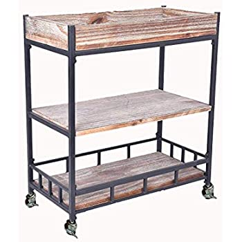 Diwhy Industrial 3 Tier Rolling Utility Storage Cart Wine Beverage Rolling Wood and Metal Wine Rack with Wheels Kicthen Bar Dining Room Tea Wine Holder ...