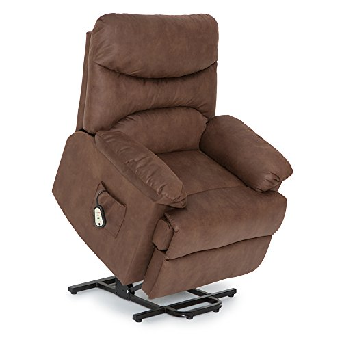 Lift Assist Chair - Seatcraft Prescott Power Lift Reclinable Premium Fabric Chair with Extended Recline (Brown)
