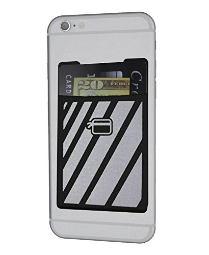CardNinja Ultra-slim Self Adhesive Credit Card Wallet for Smartphones, Black Reflective Sport