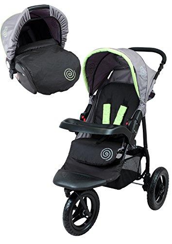 Bambikid Duo Cochecito 3 ruedas negro gris verde: Amazon.es: Bebé