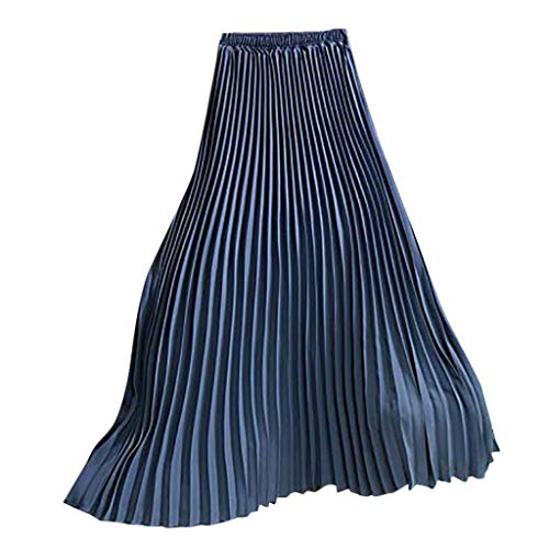 Big Sky Riding Skirt - HENWERD Summer Womens Casual Solid Pleated Midi High Waisted Long Beach Maxi Skirt (Sky Blue,Free Size)