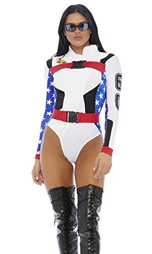 Forplay Women's Step On it Sexy Motocross Costume, White, ()