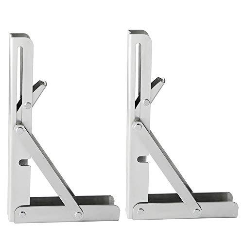 Alise Stainless Steel Folding Shelf Bracket Heavy Duty 8-Inch Brackets Support Wall Hanging,JZ008-2P Brushed Nickel 2 Pcs