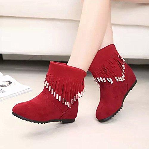 y Botas Botas con de Tobillo Mocasines de Martin Zapatos Flecos Planas Rojo Bajas borlas Botas con Mujer Casuales wExRfxUzq
