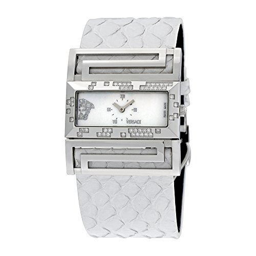 Versace Deauville Mother of Pearl Dial White Python Leather Diamond Ladies Watch VSQ91ND001-S001P