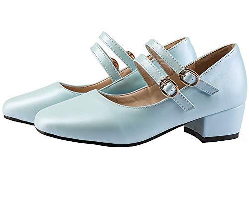 Tacco Ballet GMMDB007183 Luccichio Donna AgooLar Basso Fibbia Azzurro Flats Puro BUTxwCq