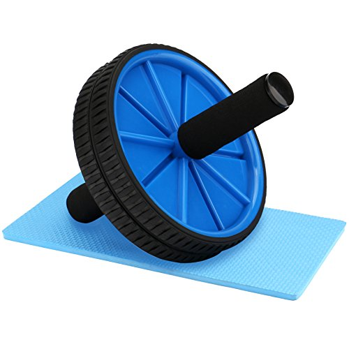 - REEHUT Ab Roller Wheels With Knee Pad - The Exercise Wheels with Dual wheels and Comfy Foam Handles - Easy Assembly, Great for Abdominal Workout(Blue)
