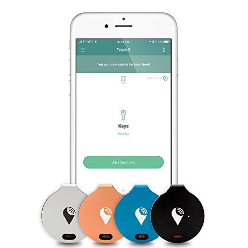 TrackR bravo - Bluetooth Tracking Device. Item Tracker. Phone Finder. iOS/Android Compatible. Generation 3, Silver/Black/Blue/Rose Gold (4 Pack)