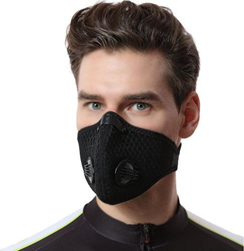 Dust Mask, MoHo Dustproof Mask Filtration Exhaust Gas Anti Pollen Allergy Fitness Mask, Cycling Mesh Cover Dust Mask Half Face Bike Mask for Outdoor Activities (Black)