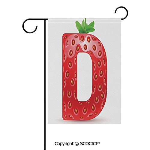 SCOCICI Double Sided Washable Customized Unique 28x40(in) Garden Flag Capital D Letter with Ripe Strawberry Design Green Vivid Leaves Diet Decorative,Vermilion Green Orange,Flag Pole NOT Included