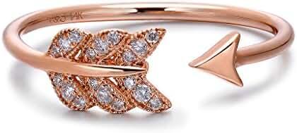 TARA Legacy 14k Gold Diamond Feather Arrow Ring (0.08cttw, G-H Color, SI1-SI2 Clarity)