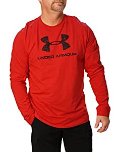 Under Armour Mens Ua Charged Cotton Big Logo 1250872 Red Long Sleeve