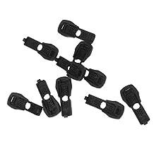 10pcs Black Zipper Pulls Cord Rope Paracord Ends Lock Buckles