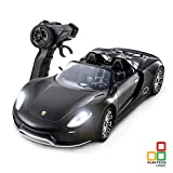 Porsche 918 Spyder Remote Control Car with Lights | Kids Boys Girls Adults Gifts | 1:14 Porsche 918 Model Electric Radio Controlled On Road RC Car | PL9333 Official Licensed Remote Control Toy Battery Operated, Black 27Mhz