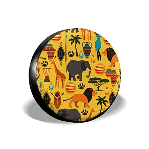 JustForU Spare Tire Covers Africa Zoo Animals Waterproof Polyester Wheel Protectors Universal for Jeep Trailer RV SUV Truck Camper (14,15,16,17 Inch) ()