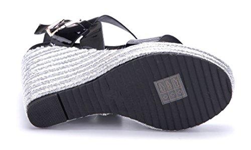 Schuhtempel24 Damen Schuhe Keilsandaletten Sandalen Sandaletten Keilabsatz 12 cm High Heels Schwarz