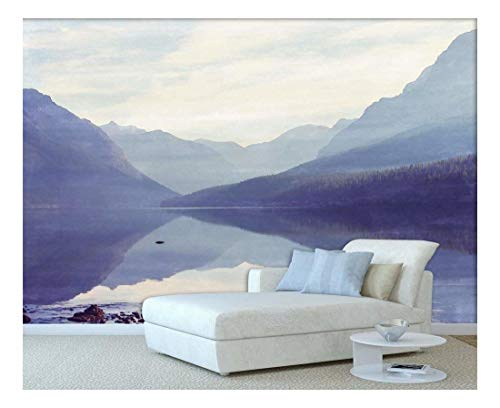 Large Wall Mural Landscape with Peaceful Lake and Mountains Vinyl Wallpaper Removable Wall Decor
