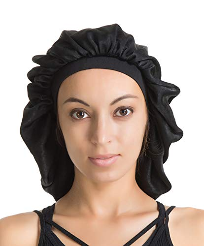 Satin Silk Bonnet Sleep Cap - Black Soft Extra Large Wide Band S Women Night Hat For Long Curly Natural Hair Cap Salon Silk Scarf Chemo Patient Slouch Slouchy