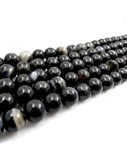 """B2Beads Gemstone beads 8mm round over 25 kinds, Jewelry Making Beading Supplies, Verified and Packed in Canada, Great for DIY Bracelet-Necklace-Earring, Natural Loose Stones, 45 beads/15"""" strand, Cold Tones Collection"""