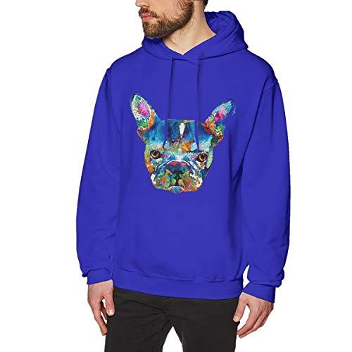 (Onge George St Colorful French Bulldog Dog Printed Drawstring Pullover Men's/Boys Hoodies Drawstring Closure/Pullover Hoodie/Hoodie/Sweater/Sweatshirt XXL Blue)