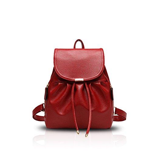 NICOLE&DORIS Bolso de escuela de la moda de las mujeres Mochila de viaje Hombro de mochila Impermeable PU duradero Rojo