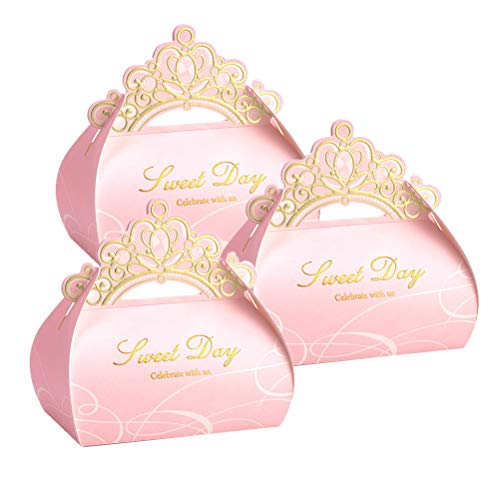 - AMOSFUN Wedding Pink Crown Candy Boxes Candy Chocolate Gift Container Treat Boxes for Wedding Party Birthday Party Favor Box 20pcs (Size L)
