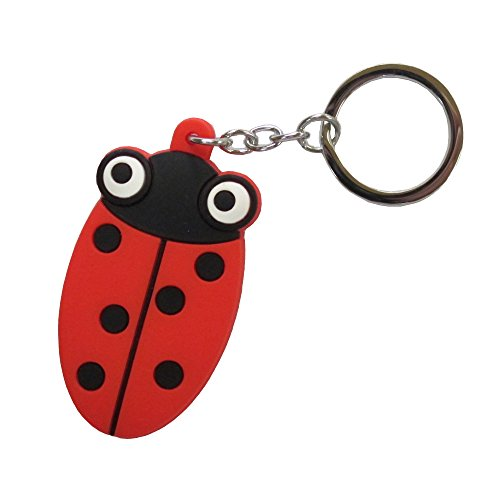 Cute silicone animal figurine with stainless steel keychain (Ladybug Key Ring Keychain)