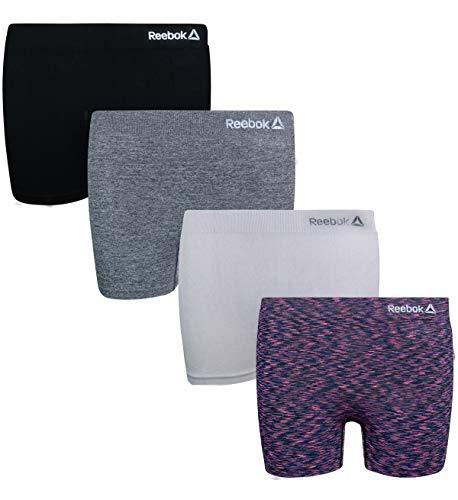 Reebok Girls Active Seamless Cartwheel Shorts (4 Pack), Charcoal/Spacedye/Grey/Black, Size Large / 12-14