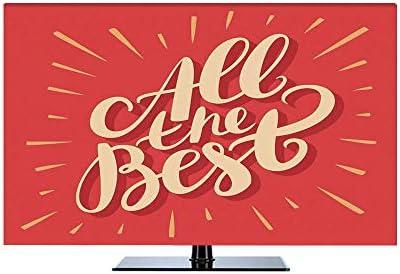モニター 用 モニター 55Vのテレビに適用 防塵カバー 保護カバー - パソコン ホコリ パーティーの装飾 赤い背景の動機付け 暗いサンゴライトイエローのレトロな手文字