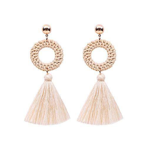 - Bohemian Earrings Exaggerated Handmade Rattan Tassel Earrings
