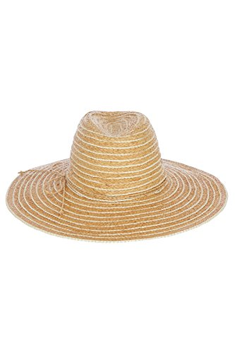 Flora Bella Florabella Women's Wide Brim Raffia Panama Hat Natural/White One by Flora Bella