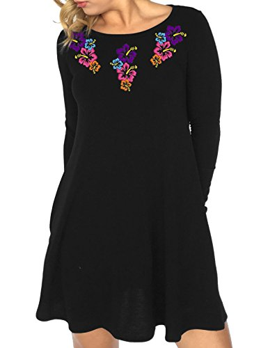Silk-Wavy-Tunic-Floral-Embroidery-With-Black-Pants-Customizable